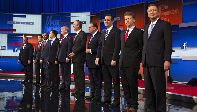Republican presidential candidates from left, Chris Christie, Marco Rubio, Ben Carson, Scott Walker, Donald Trump, Jeb Bush, Mike Huckabee, Ted Cruz, Rand Paul, and John Kasich take the stage for the first Republican presidential debate at the Quicken Loans Arena Thursday, Aug. 6, 2015, in Cleveland. Republicans are steeling themselves for a long period of deep uncertainty following a raucous first debate of the 2016 campaign for president, with no signs this past week's Fox News face-off will winnow their wide-open field of White House hopefuls anytime soon.   (AP Photo/John Minchillo)