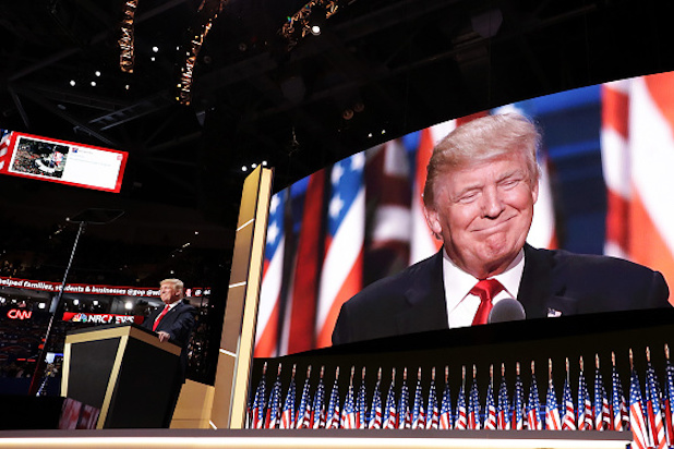 CLEVELAND, OH - JULY 21: Republican presidential candidate Donald Trump delivers a speech during the evening session on the fourth day of the Republican National Convention on July 21, 2016 at the Quicken Loans Arena in Cleveland, Ohio. Republican presidential candidate Donald Trump received the number of votes needed to secure the party's nomination. An estimated 50,000 people are expected in Cleveland, including hundreds of protesters and members of the media. The four-day Republican National Convention kicked off on July 18. (Photo by Chip Somodevilla/Getty Images)